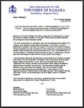Ramara News Release